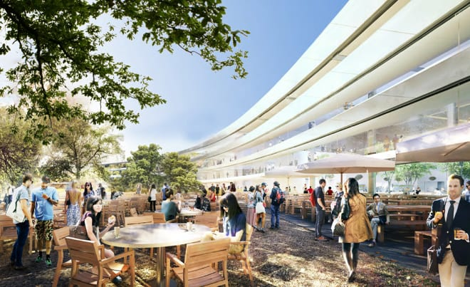 apple-new-corporate-headquarters-cupertino-cafteria-outside-external-garden