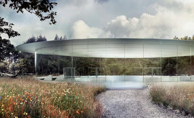 apple new corporate headquarters cupertino pillarless auditiorium entrance apple head office london