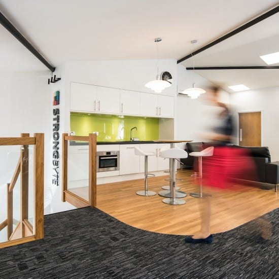 strongbyte-tea-points-glass-strairs-office-interior-design-shipton-oxfordshire-interiors